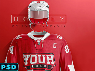 Realistic Hockey Uniform Mockup from SportsTemplates